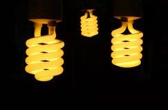Three light bulb turn on with black. Royalty Free Stock Photos