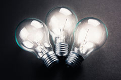 Three light bulbs Royalty Free Stock Images