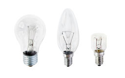 Three light bulbs stock images