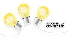 Three light bulbs successfully connected Stock Photography