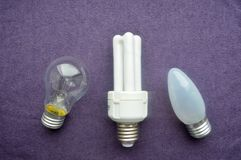 Three light bulbs. A white energy-saving fluorescent bulb with four tubes, an oblong incandescent bulb with gray glass, a round or stock photo