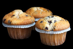 Three light chocolate chip muffins in wax liner on blac Stock Image
