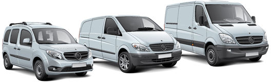 Three light commercial vehicles. High quality  illustration of three light commercial vehicles, isolated on white background Stock Photo