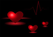 Three light hearts. With heart beat Stock Images