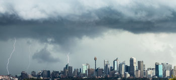 Three Lightning Bolts Strike Sydney CBD Royalty Free Stock Photography