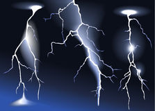 Three lightnings Stock Photos