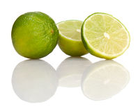 Three lime. On white background Royalty Free Stock Image