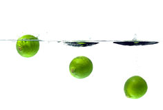 Three lime splash Royalty Free Stock Photos