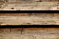 Three Line Old Wood Background with Nails royalty free stock photography