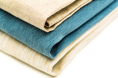 Three linen texture table cloth Royalty Free Stock Photo