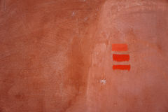 Three lines brick colour, painted on concrete wall Royalty Free Stock Images