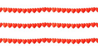 Three lines of red silk hearts on white Royalty Free Stock Photos