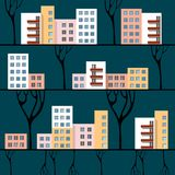 Three lines with town houses. Three lines with multi-storey town houses and trees Stock Images