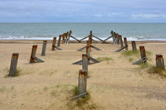 Three lines of wooden posts Royalty Free Stock Images