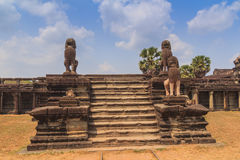 Three lion statues. At Angkor Wat stock photos
