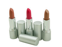 Three lipsticks on a white Royalty Free Stock Photos