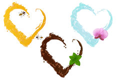 Three liquid hearts. Vector. Three liquid hearts. Chocolate with mint leaves, honey with two bees and water with flower orchid Royalty Free Stock Photo
