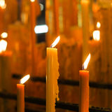Three Lit Candles Stock Image