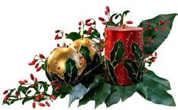 Three lit decorated Christmas candle Royalty Free Stock Photo