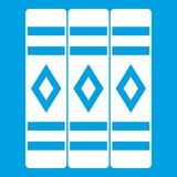 Three literary books icon white. Isolated on blue background vector illustration Royalty Free Stock Photography