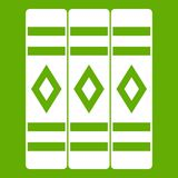 Three literary books icon green. Three literary books icon white isolated on green background. Vector illustration Stock Photo