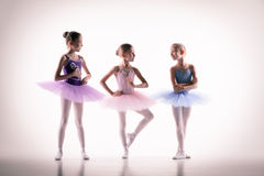 Three little ballerinas in dance studio. The silhouettes of little ballerinas in dance studio posing on a white background stock photography