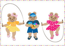 Three little bears with toys Royalty Free Stock Photography