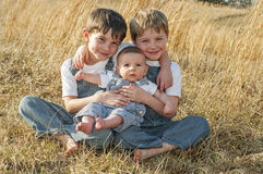 Three little boy brothers Royalty Free Stock Images