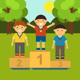 Three little boys on the pedestal. Illustration of ceremony of awarding medals in cartoon style. Vector. Eps 8 Stock Photo