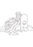 Three little boys play with a slide. A little boy is on the slide,the other two are cheering royalty free illustration