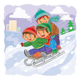 Three little boys roll together on sled from a hill. Vector illustration of three little boys roll together on a sled from a hill vector illustration