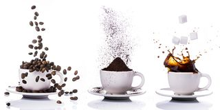 Three little cups of different types of coffee