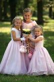 Three little cute bridesmaids royalty free stock photo