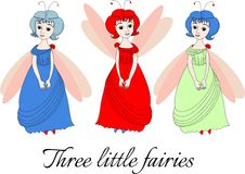 Three little fairies. Cute illustration with beautiful girls. Royalty Free Stock Photography