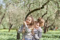 Three little friends sitting on a swing in the garden on a spring day. The concept of a happy childhood royalty free stock images