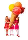 Three little girl and greatest ice cream Royalty Free Stock Photo