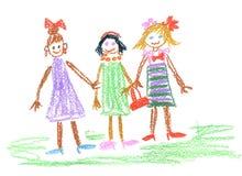 Three little girls. Dress, bows, beads Stock Photography