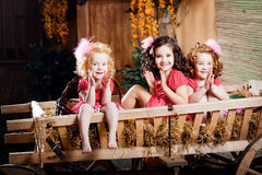 Three little girls, cute kids Stock Image