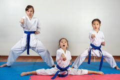 Three little girls demonstrate martial arts working together. Fighting position, active lifestyle, practicing fighting techniques royalty free stock images