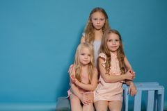 Three little girls girlfriend fashion portrait nice. Three little girls girlfriend fashion portrait royalty free stock photos