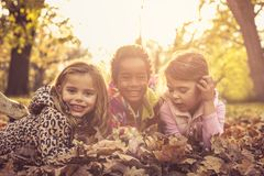 Portrait of three little girls. royalty free stock photography