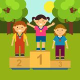 Three little girls on the pedestal. Illustration of ceremony of awarding medals in cartoon style. Vector. Eps 8 Stock Photos