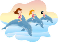 Three Little Girls Riding on the Jumping Dolphin's Back. With brunette and blonde little girls with pink swimming suit and lovely blue dolphins jumping out of Stock Photography