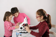 Three little girls studying Stock Images
