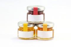 Three Little glass jar wit lit Royalty Free Stock Photo