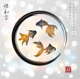 Three little goldfishes in black enso zen circle Royalty Free Stock Photo
