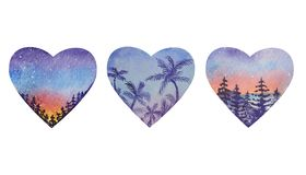 Three heart shapes with a sunrise landscape inside stock illustration