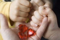 Three little hearts- three children Royalty Free Stock Photo