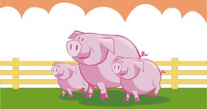 Three little pigs. An illustration of the story about three little pigs Stock Photography