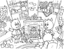 Three Little Pigs. Black-and-white illustration (coloring page): three little piglets converse in their front room (fairy-tale Three Little Pigs Stock Photos